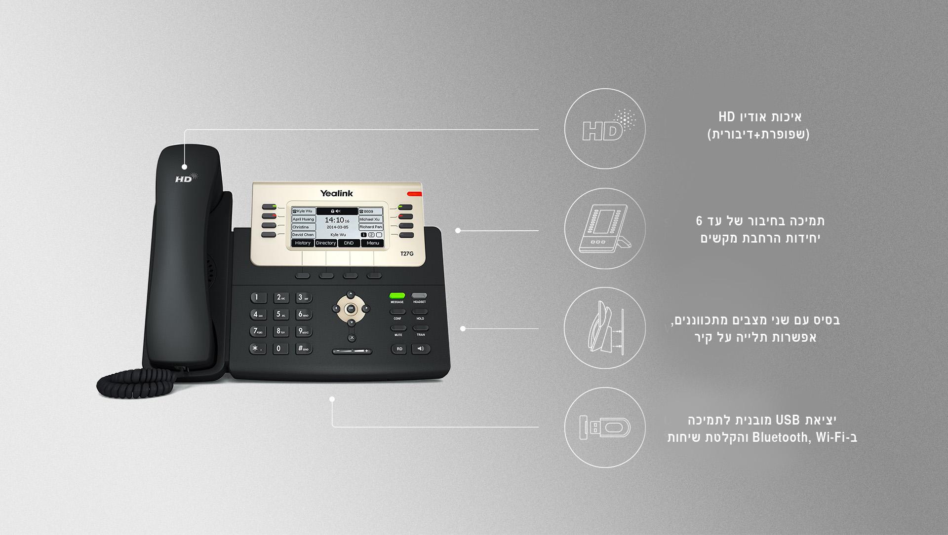 T27G טלפון IP SIP VOIP יאלינק